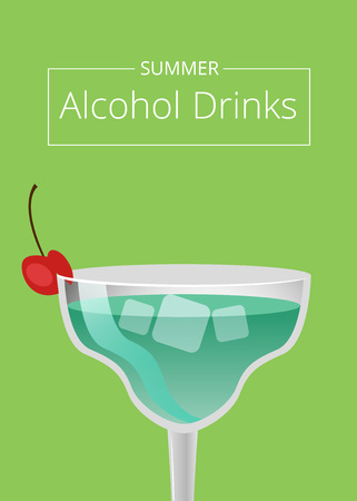 Summer alcohol drinks advert poster with blue cocktail in martini glass decorated by cherry on top vector illustration isolated on green background Иллюстрация
