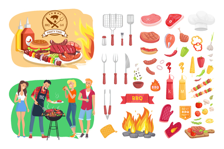 BBQ party time isolated icons set poster vector. People roasting meat and sausages vegetables and tools for barbeque cooking. Veggies and beef pork