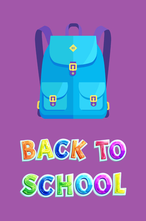 Back to school goods flyer with rucksack or schoolbag with pockets on bands and gilded garment accessories. Schoolchildren fashionable bag poster.