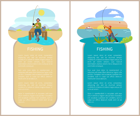 Fishing posters text set with men holding rods on rivers bank. Fishermen and bucket with fish. Hunter on beach with seaweed growing plants vector