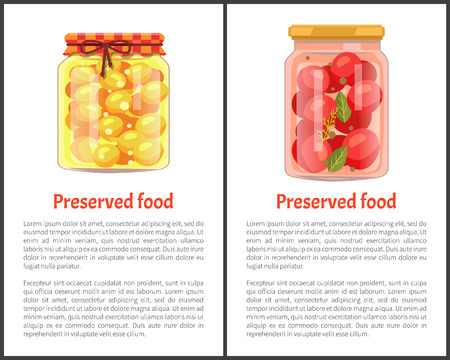 Preserved food posterss, fruit or vegetable. Spicy tomatoes with bay leaf and ripe juicy apricots in jars on promo banners vector illustrations set.