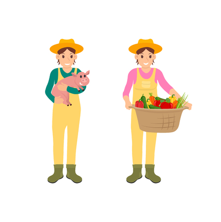 Woman with basket and pig vector. Isolated icons set of farming people during harvesting season. Vegetables in container and piglet on persons hands