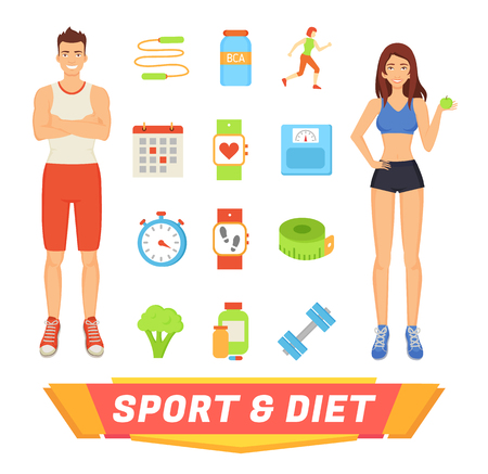 Sport and diet people and isolated icons set. Jumping rope and dumbbells, healthy food broccoli and apple. Calendar regularity of workouts vector Illustration