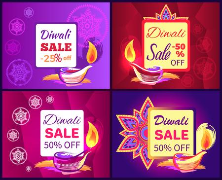 Diwali Sale Set of Posters Vector Illustration