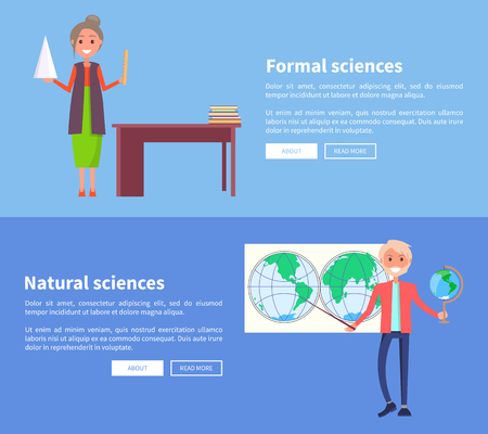 Formal and natural sciences web banners with teacher standing near blackboard and professor of geography holding globe behind international map vector