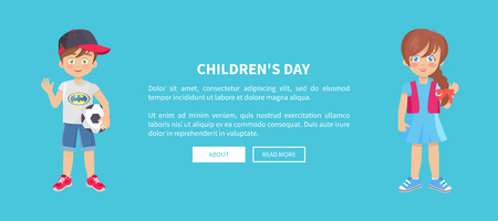 Childrens day web banner with playful boy and girl isolated on blue background. Happy schoolboy with ball schoolgirl in cartoon style