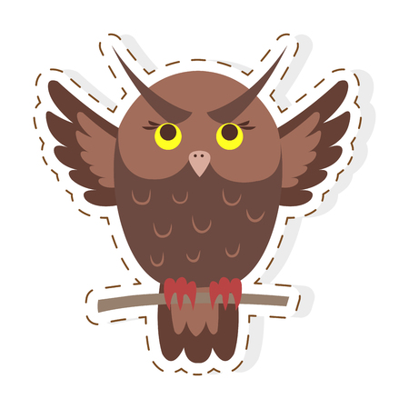 Funny cuty brown eagle-owl seating on branch with straightened wings vector sticker or icon isolated on white . Night predatory bird illustration outlined with dotted line for game counters kids books