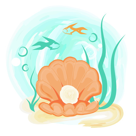 Opened light orange sea shell with shiny round pearl on background of underwater world with plants and fish vector illustration