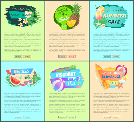 Discount promo posters advertisement leaflets. Summertime labels flowers and sunglasses, cocktails and balls, surfboard, pineapple in glasses, sea creatures