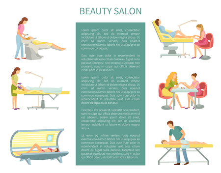 Beauty salon procedures and service set poster with text sample vector. Tanning and cosmetician treatment of face, massage client. Manicure pedicure 일러스트