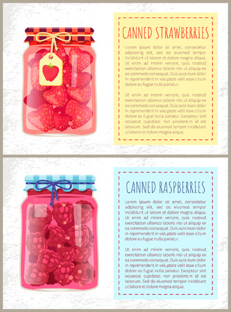 Canned Strawberries and Raspberries Banners Set