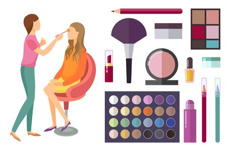 Visage and Makeup Making Beauty Cosmetics Vector Stock Photo