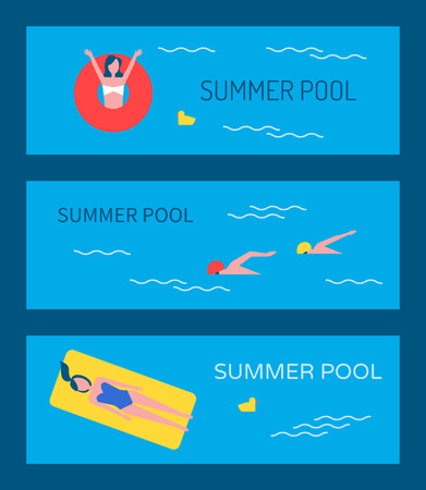 Swimming Pool Vector Banner with People Bathing