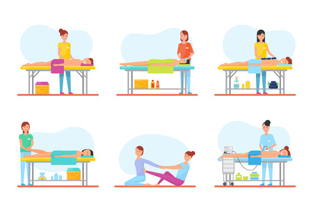 Massage Therapy and Treatment Icons Set Vector Imagens