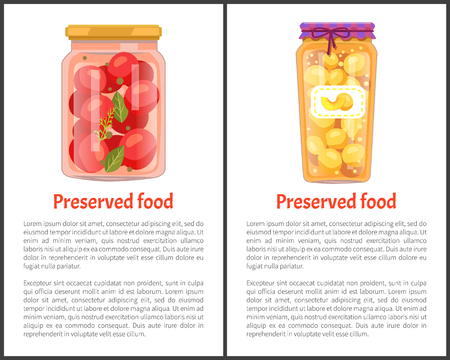 Preserved food banners with tomatoes and peaches. Vegetable in marinade, sweet fruit jam inside jar, text on web poster vector illustrations set.