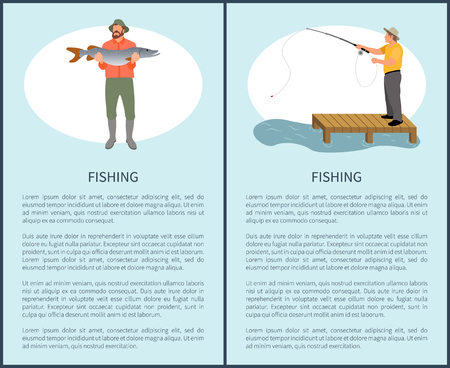 Fishing for fun and relax flyer including man with lucky catch, guy with rod on pier and text sample. Vector fishermen for magazine or thenatical site Иллюстрация
