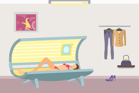 Tanning Poster with Woman Lying in Indoor Tan Case