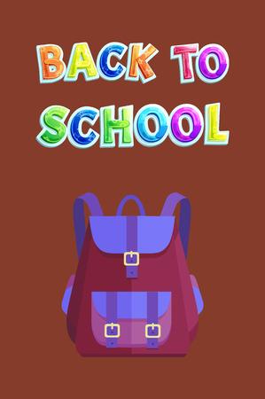 Full backpack of fabric on back to school poster. Rucksack with belts and big pocket for pupils. Schoolbag in vintage design vector illustration.