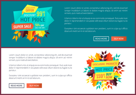 Hot price exclusive offer posters set. Proposals of shops and stores. Autumnal super sales promotion and clearance banners with autumn leaves vector
