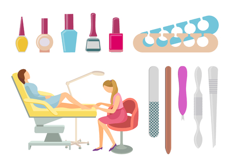 Pedicurist with glass bottles containers with nail polish. Treatment of toenails for woman. Spa salon pedicure procedures isolated icons set vector. Illustration