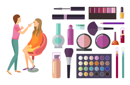 Visage and makeup making beauty cosmetics set products vector. Palette of eyeshadows, mascara and lipstick, foundation and lotion. Client and expert