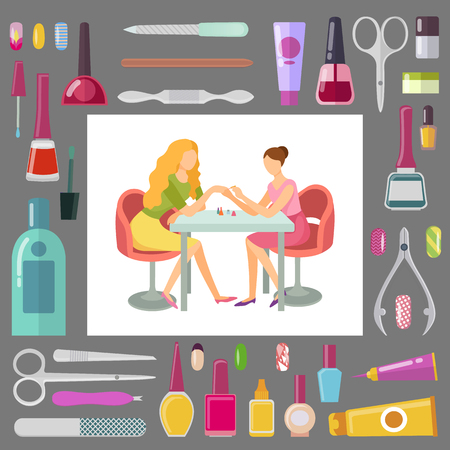Spa salon manicurist working with client, tools and instruments for work vector. Scissors and files, lotions and oil, cuticle cut, bottles with paint