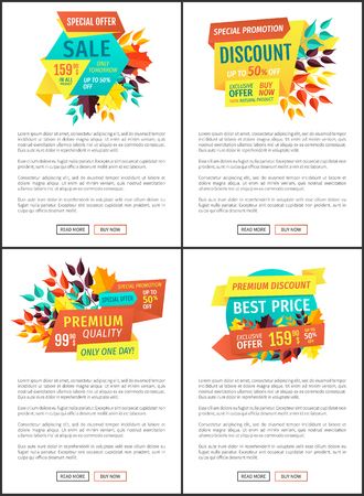 Sale discount premium quality natural products only one day. Posters set with banners autumnal proposals off price seasonal shopping reduction vector