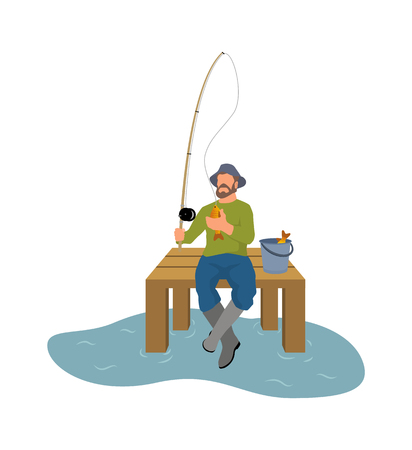 Fishing icon with fisherman and fish. Fisherman fishery from platform with rod and basket full of fish cartoon design vector illustration sport theme