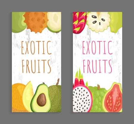Ambarella and kiwano, papaya and melon, avocado and jackfruit. Pitaya and guava, sugar apple and marang vector tropical exotic whole and cut fruits poster Illustration