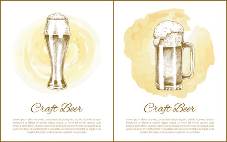 Craft beer objects set hand drawn vector sketches. Full tumblers with flowing foam isolated on beige, stain vintage icons illustration for bar menu
