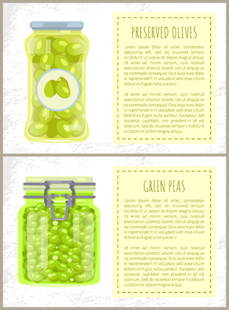 Canned olives and peas in jars banners set. Conserved piquant vegetables inside glass containers beside text, preserved food, vector illustrations.