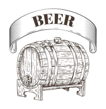 Beer storage wooden barrel. Old-fashioned way of brewing alcoholic drink. Keg beverage alcohol making process and banner monochrome sketches vector