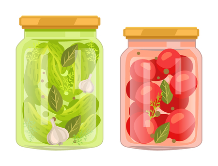 Hermetic bottles with preserved food vector poster. Isolated tomatoes with bay leaf and peppercorn jar and pickles cucumbers with garlic spicery can.