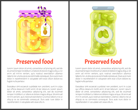 Preserved food posters, pineapple rings and olives. Jar of fruit slices or spicy vegetables in marinade promo banners vector illustrations with text.
