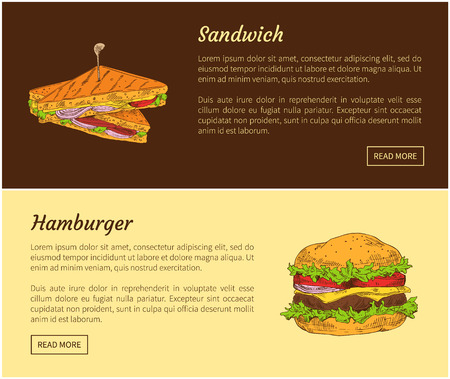 Sandwich and hamburger posters set. Roasted bread slices with salad leaves, ham and cheese. Meat dishes combined with vegetables vector illustration
