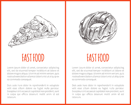 Fast food Italian pizza slice with cheese and tomatoes posters with text sample set. Sweet donut monochrome sketch outline takeaway meal dish vector  イラスト・ベクター素材