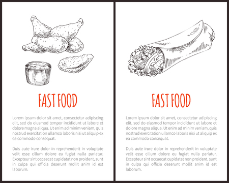 Fast food or takeaway vector hand-drawn sketches with american and mexican treat. Fried chicken or naggets with sauce and spicy burrito wrap poster.
