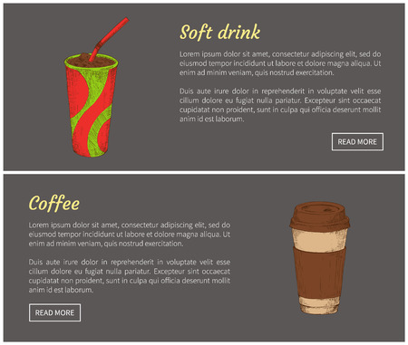 Coffee and soft drink beverages in cup set. Container with straw to drink while going to work. Espresso juice to overcome thirst vector illustration