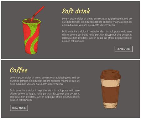 Coffee and Soft Drink Set Vector Illustration Stock Illustration - 112374750