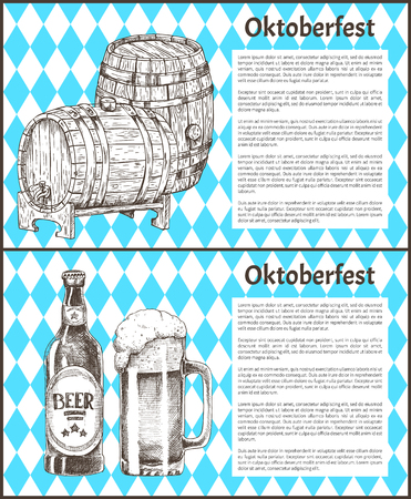 Oktoberfest Beer Objects Set Hand Drawn Icons Stock Photo