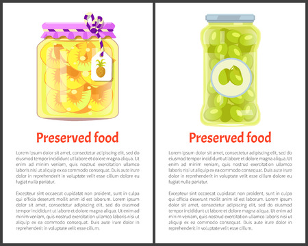 Preserved Food Posters with Pineapple and Olives. Stok Fotoğraf - 112374759