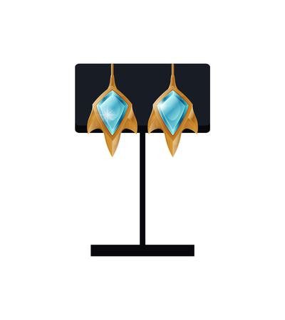 Golden Earrings on Black Stand Vector Illustration