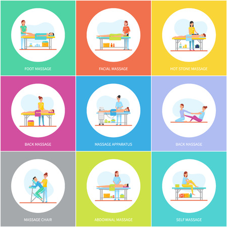 Foot Facial and Hot Stones Massage Icons Vector