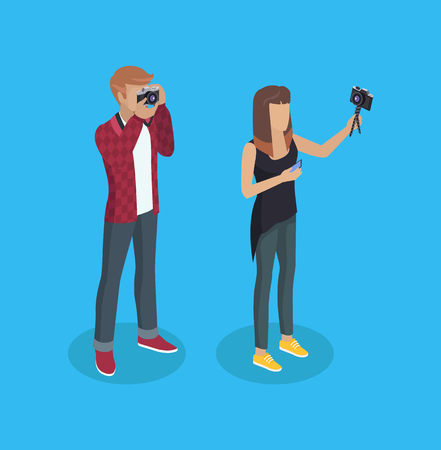 Photographer Woman and Man Vector Illustration