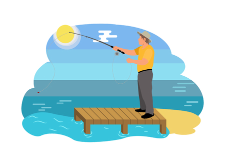 Fish catching man on sandy shore using rod. Fishing activities on wooden pier. Fisherman wearing waterproof clothes isolated on vector illustration