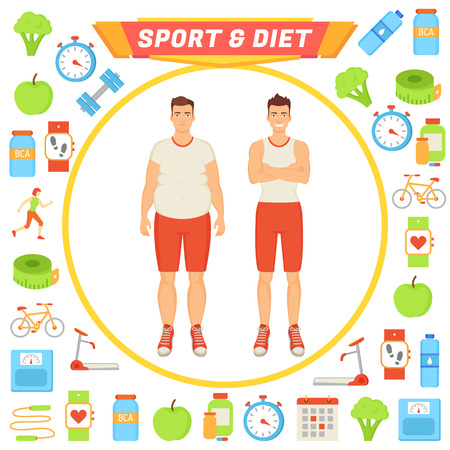 Sport and Diet Male Poster Vector Illustration Illustration