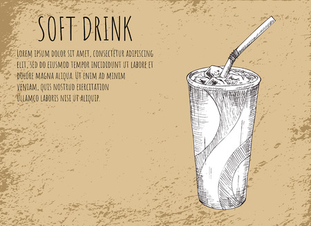 Soft drink in plastic cup with straw. Poster with headline, text sample and monochrome sketch outline. Beverage with ice cubes vector illustration