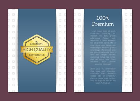 Premium exclusive quality assured by golden label. Royal production excellence. Badge with headline, crown and several stars set vector illustration Ilustração