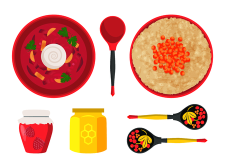 Food and dishes of Russian cuisine. Borscht served with sour cream and wooden spoons decorated with floral elements. Honey jar icon vector illustration