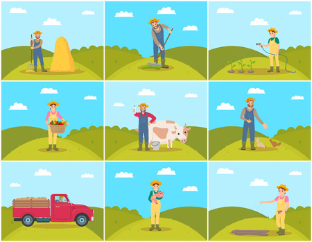 Beekeeper and farming man with rake spreading compost on ground. Chicken feeding, piglet hens tending. Tractor and lorry agricultural machines vector Illustration